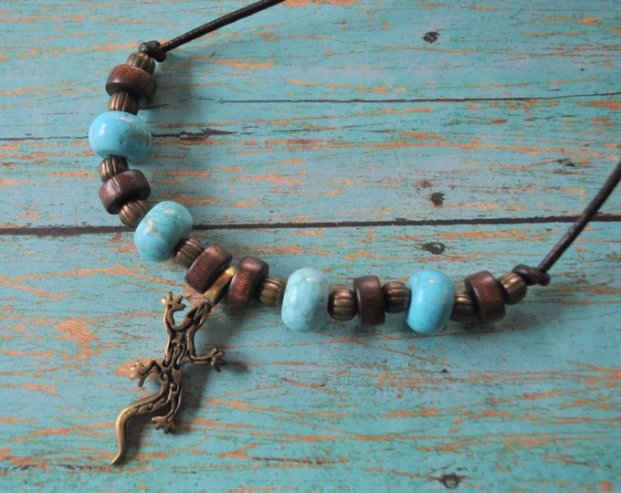 Men's Lizard Necklace, masculine necklace, turquoise necklace, Southwestern necklace