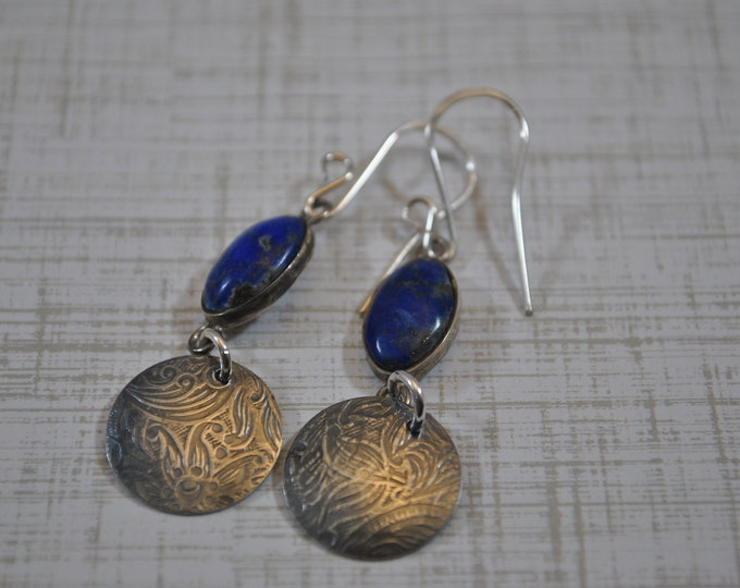Lapis  Lazuli stone with sterling silver circle earrings, handcrafted, blue earrings