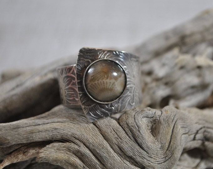 Petoskey stone and Sterling silver adjustable ring, textured metal, boho, Michigan jewelry, floral design, sterling jewelry, handcrafted