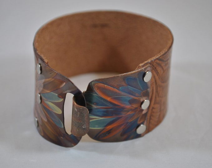 Flame Painted Copper and tan leather bracelet, embossed bracelet, colorful metal, boho