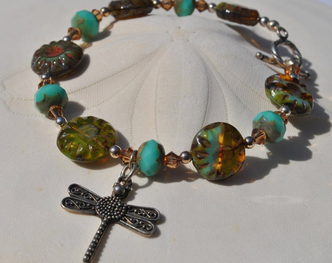 Turquoise floral Czech glass Bracelet set with sterling silver dragonfly charm and sterling silver beads and crystals