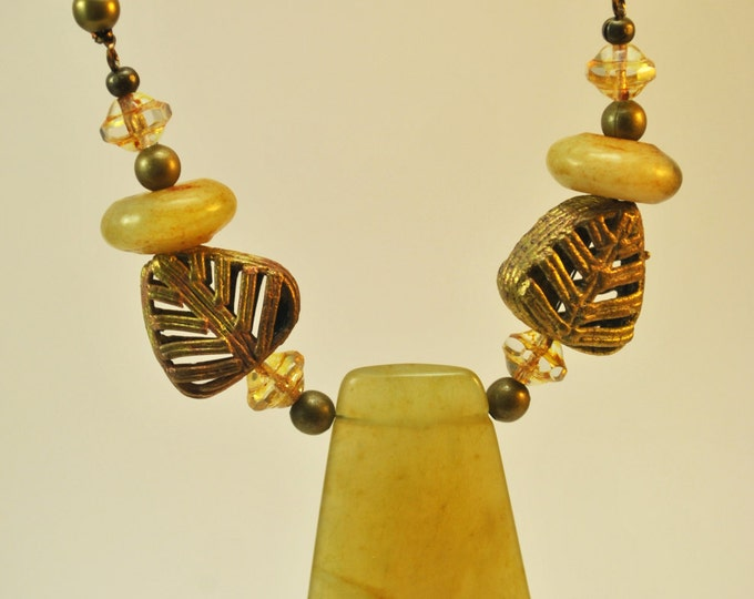 Ethnic Serpentine Stone African beads Necklace Set