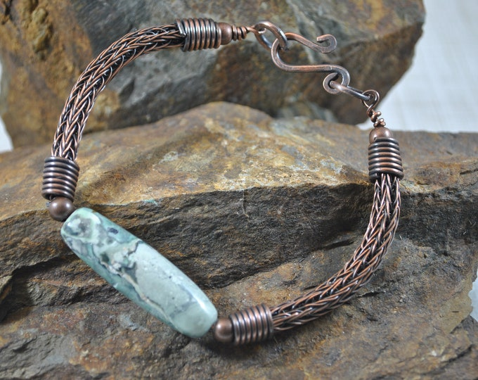 Copper Viking Knit and Variquoise bracelet, wire jewelry, handcrafted, turquoise