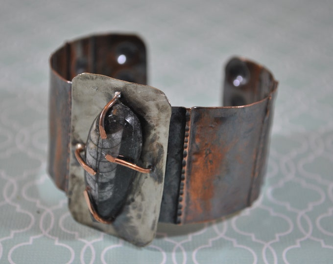 Fossil Orthoceras stone copper cuff,  rustic copper bracelet, metal work, boho, gemstone