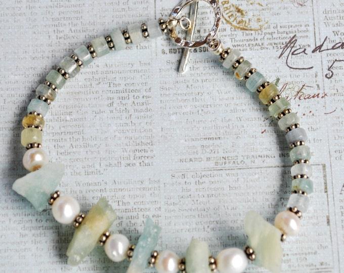 Aquamarine raw stone beaded bracelet, sterling silver beads, freshwater pearls, blue bracelet, aqua bracelet