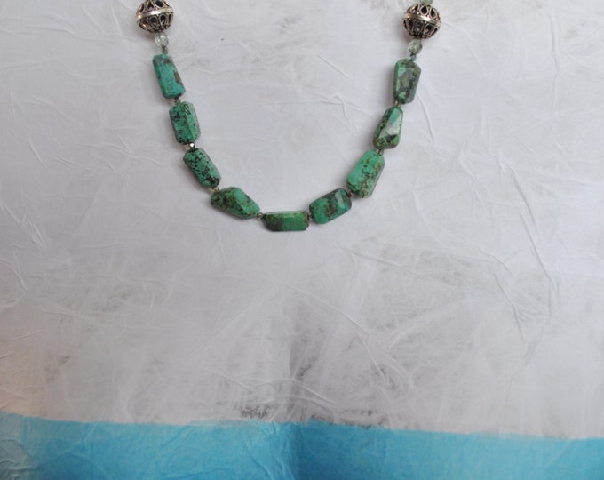 African Green Turquoise Stone necklace with crystals and silver beads