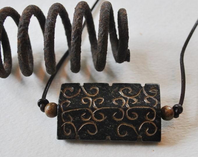 Antiqued Jade Men's Necklace, masculine necklace, rugged carved jade necklace, adjustable