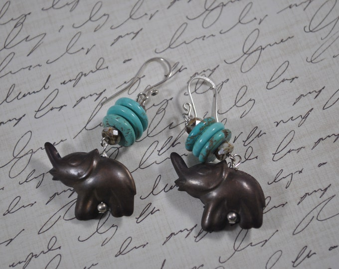 Brass elephant earrings with turquoise beads, handcrafted jewelry, boho, fun earrings, animal