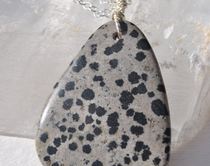 Dalmatian Jasper Stone pendant necklace with Sterling Silver chain simple, boho, minimalist