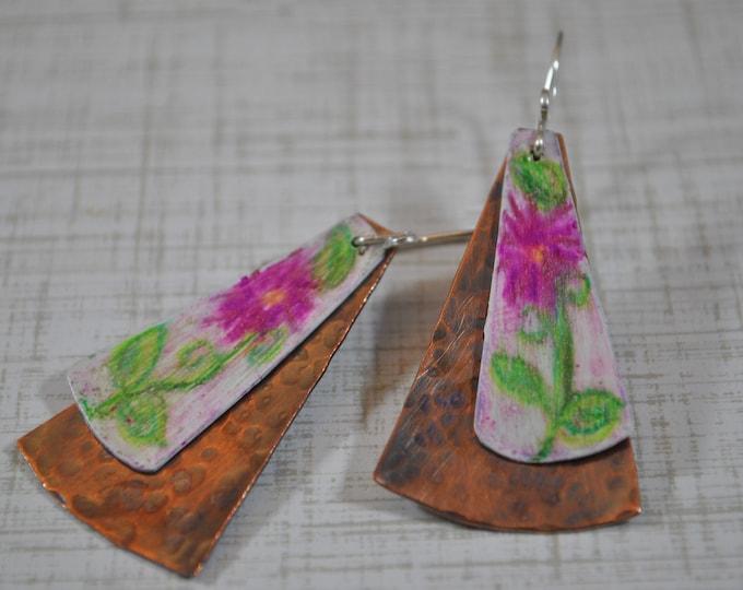 Copper pink flower dangling earrings, textured metal earrings, colored pencil earrings, artisan earrings