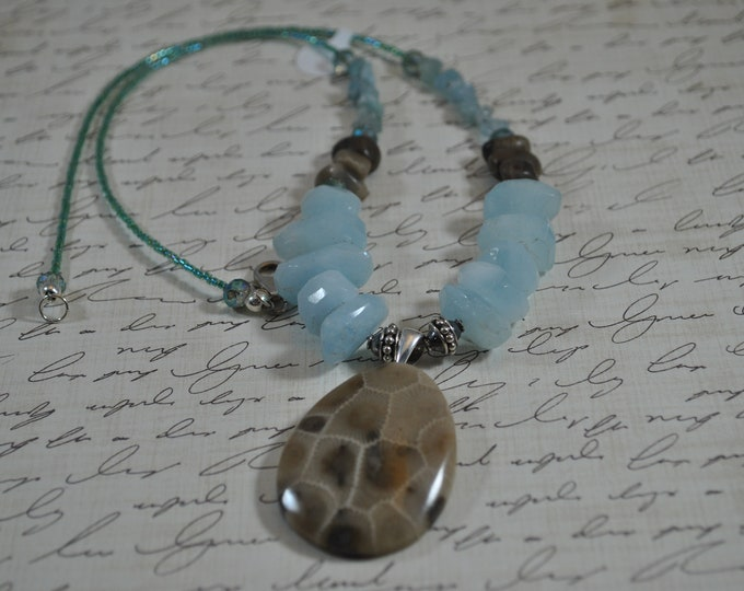 Statement Petoskey Stone and Aquamarine Necklace, Petoskey focal necklace, blue stones