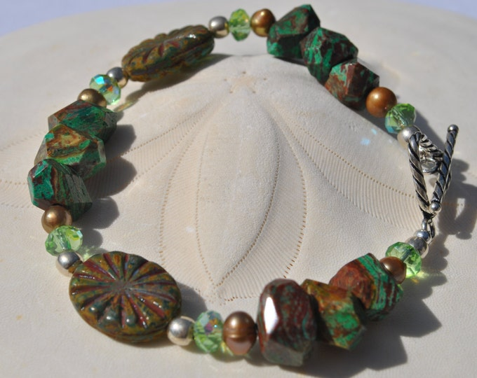 Green Paisley Jasper Bracelet with Czech glass beads, crystals, pearls and sterling silver beads