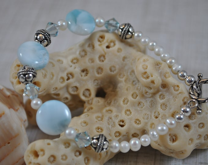 Larimar stone, pearls, Bali sterling silver, crystals, handcrafted bracelet,  Dominican Republic gemstone