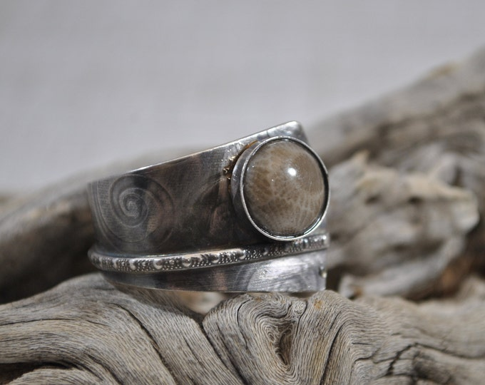 Petoskey stone and Sterling silver adjustable ring, textured metal, boho, Michigan jewelry, swirl design, sterling jewelry, handcrafted