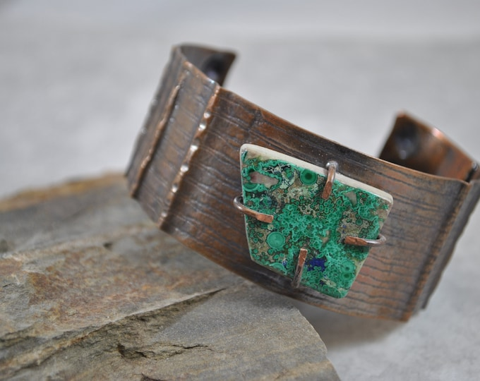 Turquoise stone copper cuff,  rustic copper bracelet, metal work, boho