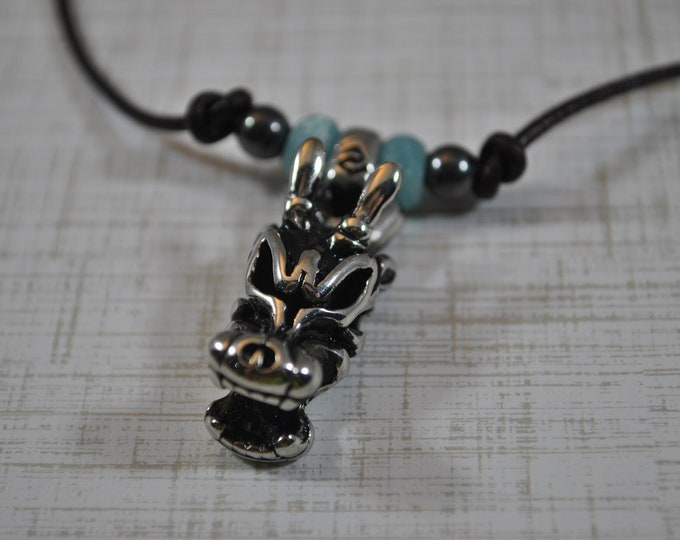 Viking Dragon Head Men's Necklace, masculine necklace, stainless steel necklace