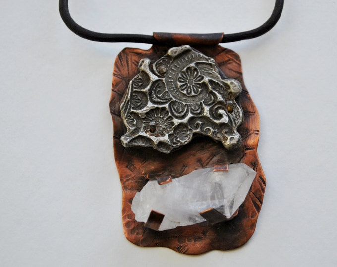 Rustic Quartz crystal with stamped floral design on copper pendant on leather necklace Boho, gemstone, unisex