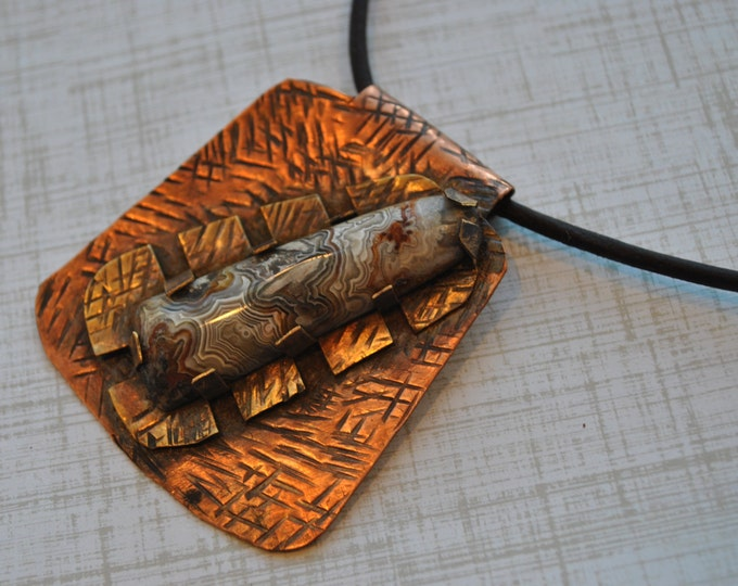Rustic Crazy Lace Agate Stone on brass and copper pendant on leather necklace Boho, gemstone, unisex