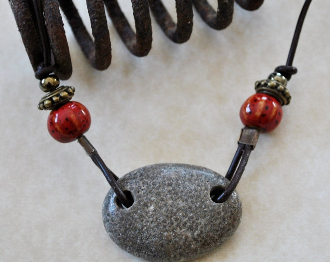Men's Necklace of Fossil Charlevoix Stone with red ceramic beads on brown leather cord , minimalist, Michigan necklace