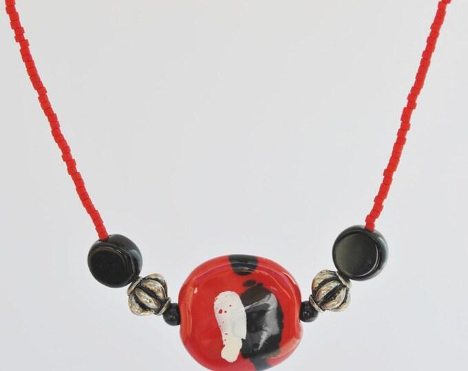 Red and Black African Kazuri Ceramic Necklace Set