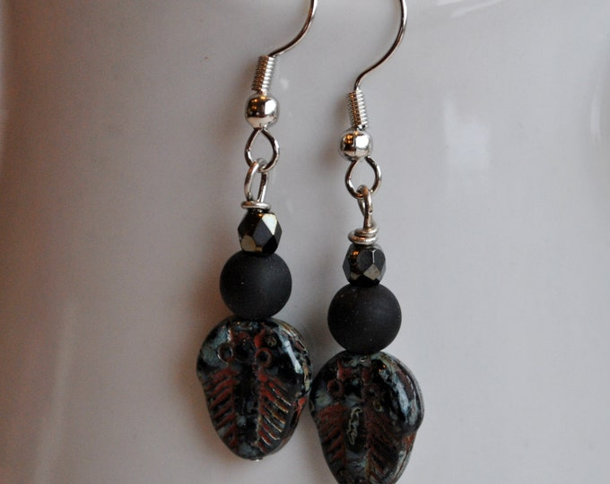 Trilobite Fossil Earrings with black beads and crystals