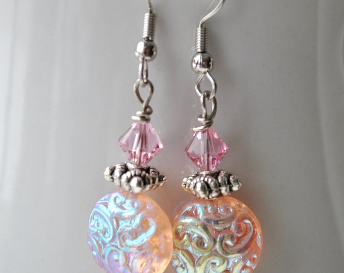 Pink Vintage look earrings with pink Swarovski crystals and carved Czech glass beads