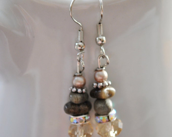 Petoskey stone nugget earrings with champagne crystals, rhinestones, and pearls, Lake Michigan, Up North jewelry