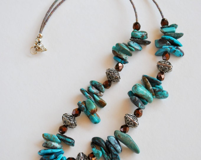 Genuine Turquoise Stone necklace with crystals and sterling silver beads, statement necklace, Southwestern necklace