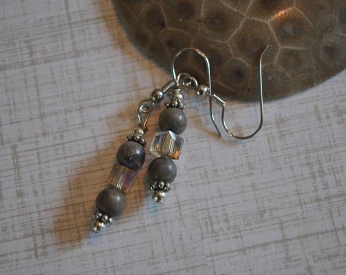 Lake Michigan Petoskey stone earrings with champagne crystals,Lake Michigan, Up North jewelry