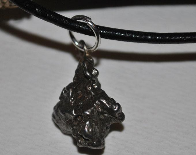 Men's Genuine Meteorite Pendant on leather necklace simple, boho, minimalist, geekery