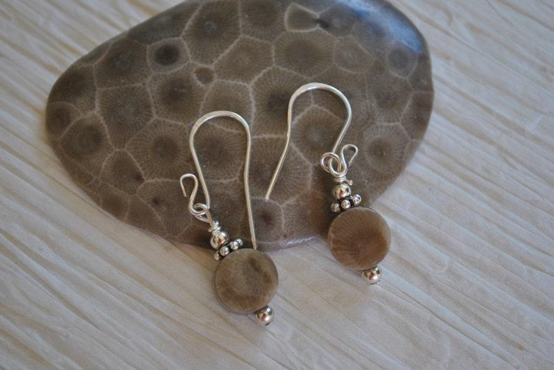 sterling earrings Petoskey stone earrings Up North Michigan Lake Michigan