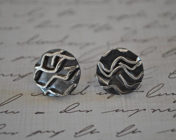 Sterling silver post earrings, textured metal earrings, artisan earrings, round, post
