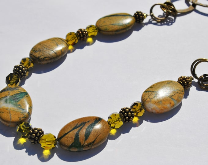 Green Line Jasper Stone necklace with crystal and brass