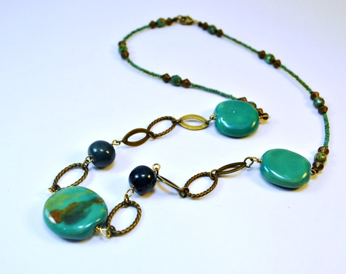 Teal Kazuri Ceramic Necklace Set with brass chain, African bead necklace