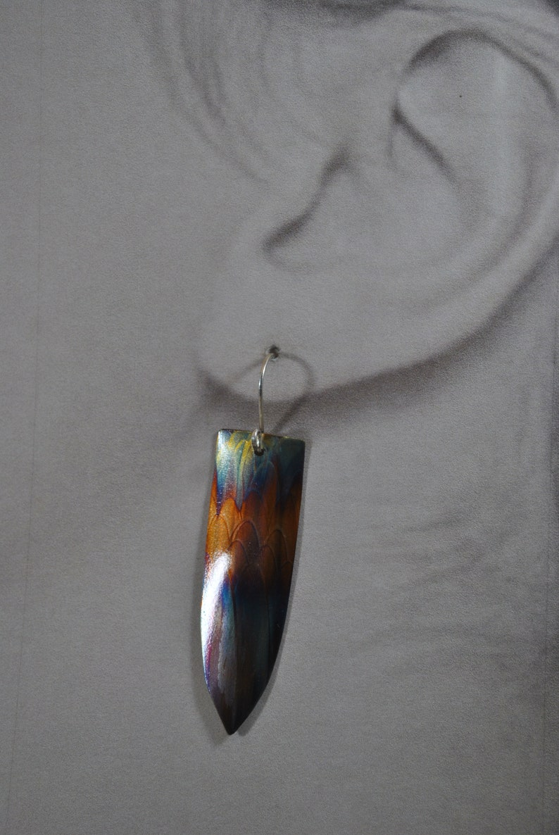 Flame Painted Copper pendant necklace set unique jewelry colorful OOAK gift