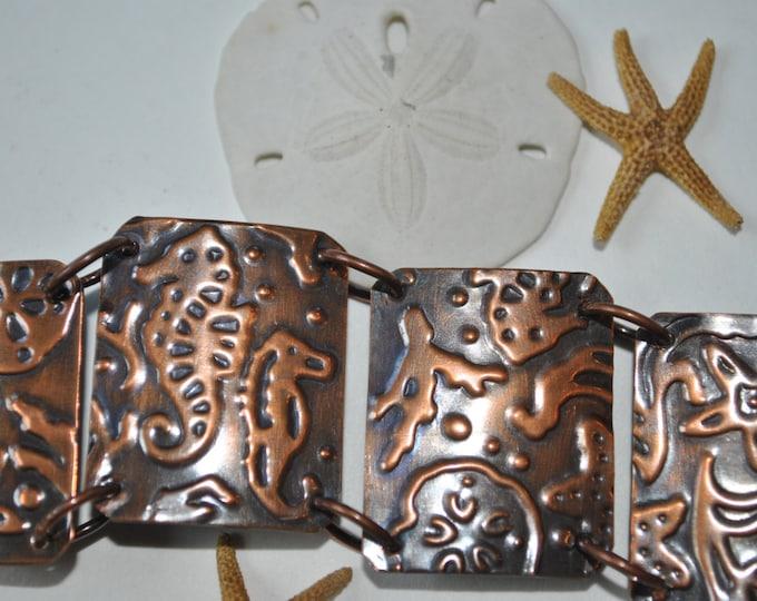 Mixed metals Sea Life copper bracelet. Hammered copper bracelet, metal work, boho, seahorse, seashell