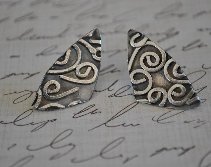 Sterling silver post earrings, textured metal earrings, artisan earrings