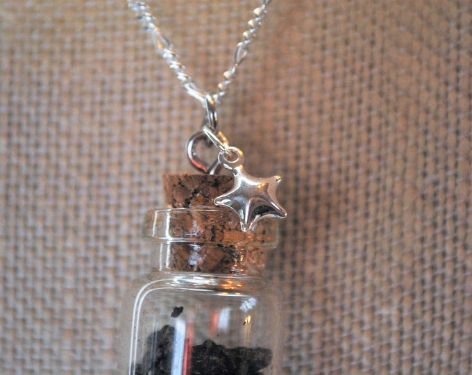 Genuine Meteorite Necklace on Sterling Silver chain,star necklace, meteorite fragments, boho, minimalist, geekery