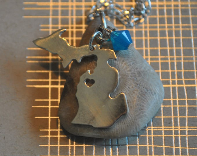 Petoskey Stone necklace with sterling Michigan charm and blue Swarovski crystal, Michigan necklace, Up North