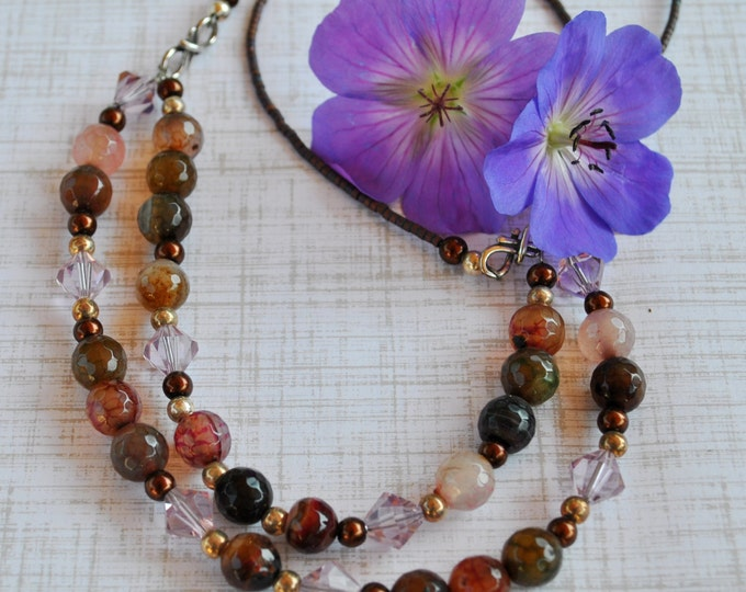 Pastel fall colors necklace with agate stone in shades of pink, purple and brown, 2 strand necklace, Fall necklace