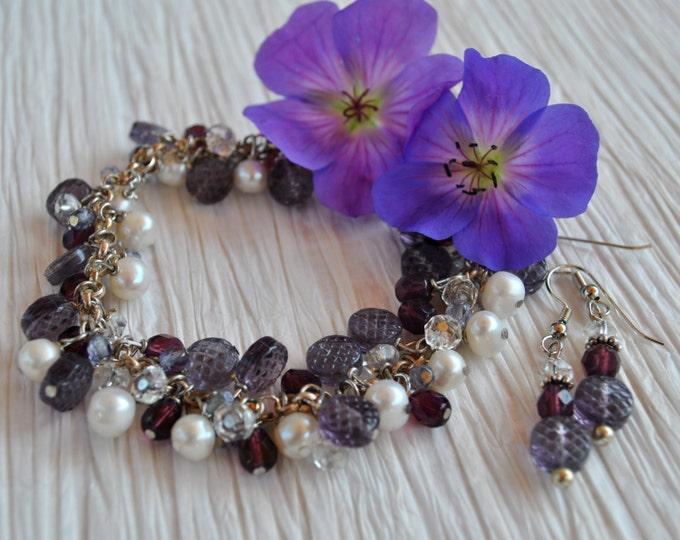 Purple Dangle Bracelet set with sterling silver, pearls, Czech glass and crystals, Lavender bracelet