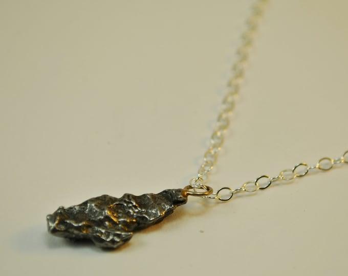 Genuine Meterorite Pendant Necklace on Sterling Silver chain simple, geekery, boho, minimalist