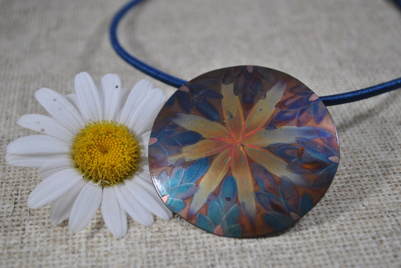 OOAK unique jewelry Flame Painted Copper pendant necklace gift blue colorful