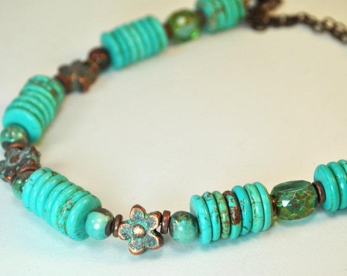 Southwestern Turquoise, teal Czech glass, Greek Mykonos copper flowers necklace set