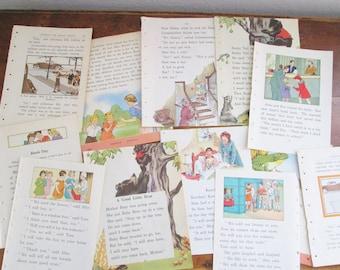 Vintage 1930's Children's Reader Book Paper Illustrated Book Pages Journaling Scrapbooking Collage Kid's Crafts Vintage Paper Ephemera