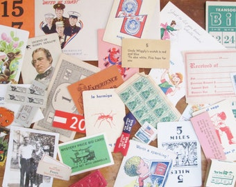 Vintage Paper Ephemera Pack 36 Piece Grab Bag of Small Vintage Embellishments Stamps Game Cards Shelf Tags Collage Supplies Scrapbooking
