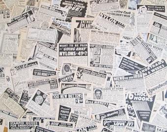 Vintage 1950's Magazine Advertisements Lot of 50 Black & White Ad Clippings Vintage Images Nostalgic Paper Ephemera Pack