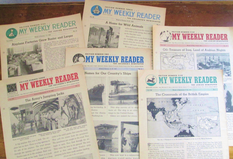 Vintage My Weekly Reader Children's Newspapers 1939-1941 Paper Ephemera  Vintage Photos Illustrations Current Events Journaling Collage