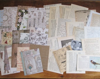 50 Piece Mixed Lot of 50 Paper Pieces Vintage Paper Scrapbook Paper Vintage Paper Scraps Scrapbook Paper Scraps Paper Pack Neutral Shades