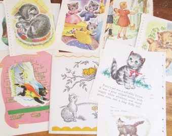 Cats Kittens Kitties 20 Pages of Vintage Children's Illustrated Book Paper 1940's-50's Scrapbooking Collage Kid's Crafts Paper Crafts